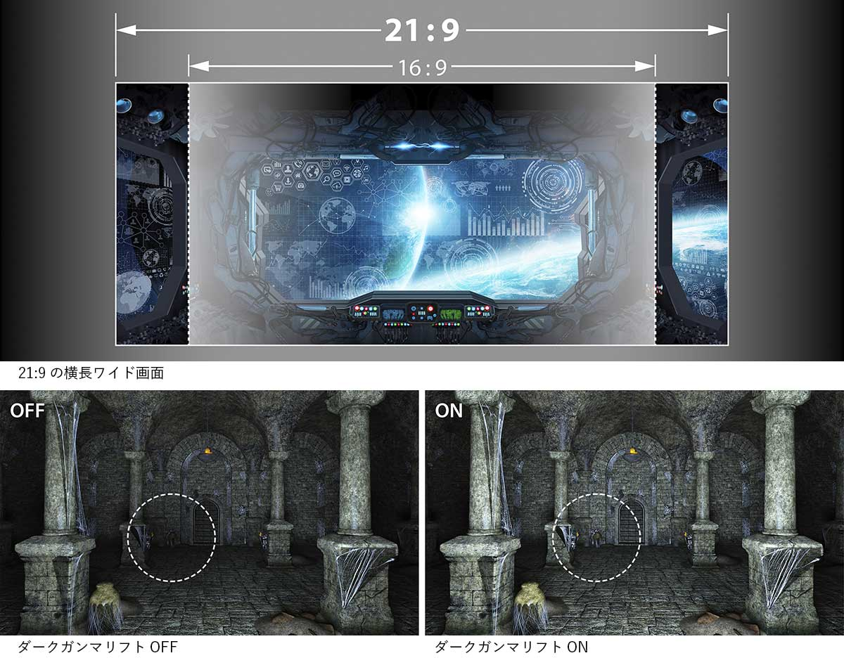 エプソンEH-TW5750の21:9横長ワイドのイメージ画像