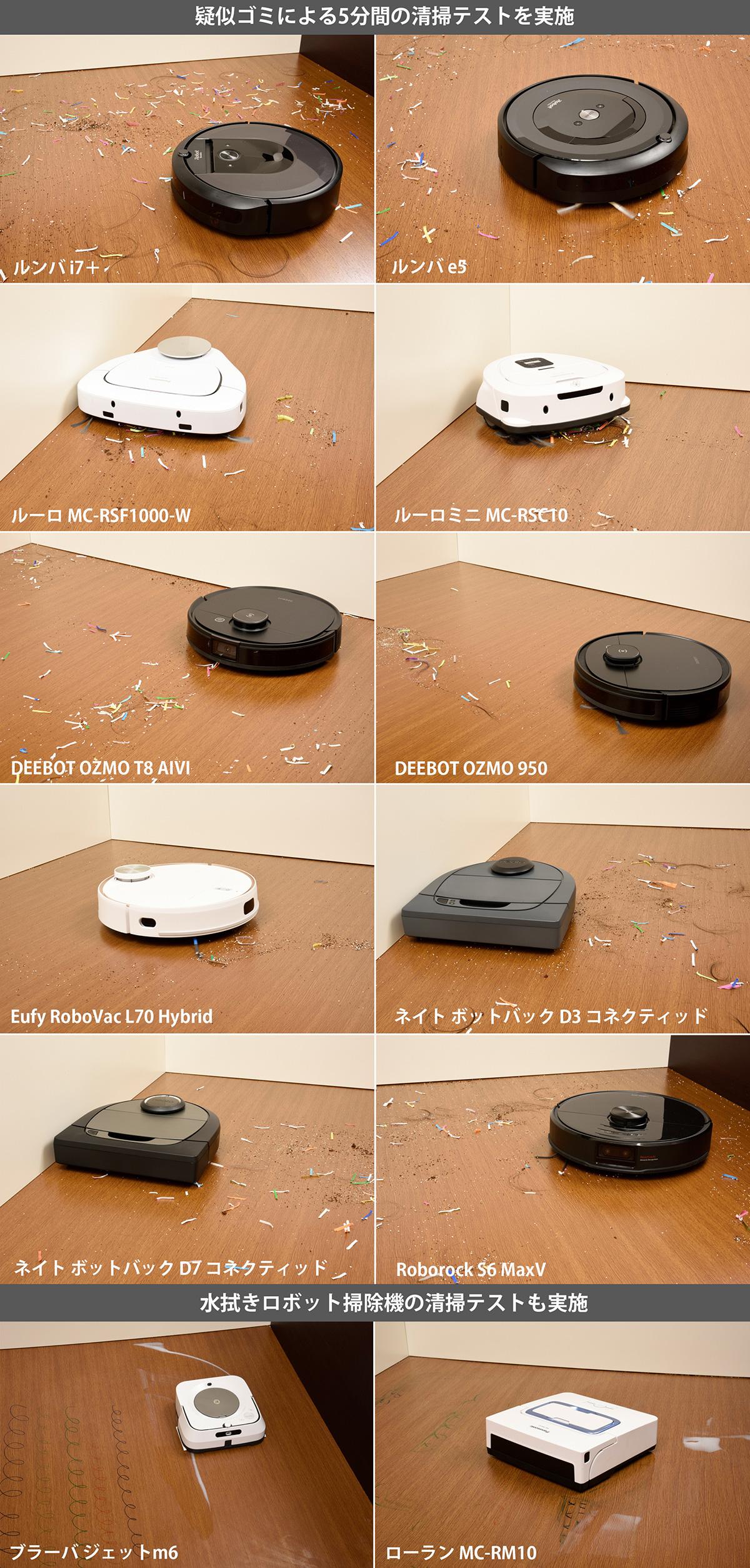 ロボット掃除機12機種の吸引掃除している様子画像