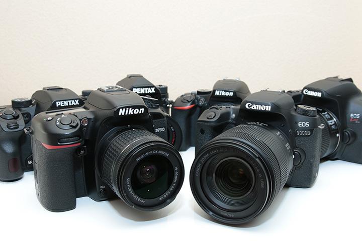 Canon EOS Kiss X10、Canon EOS 9000D、Nikon D7500、PENTAX K-70、PENTAX KPの集合画像