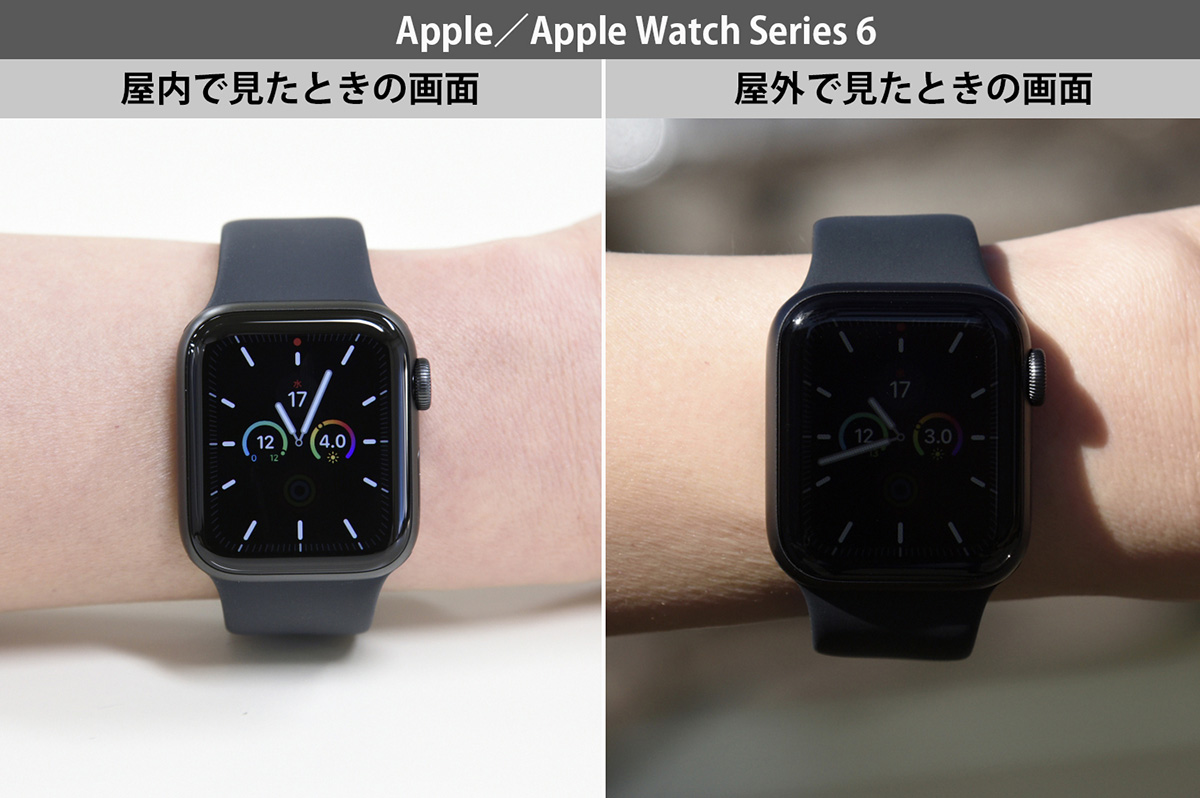 Apple Watch Series 6を屋内・屋外で見たときの画面画像