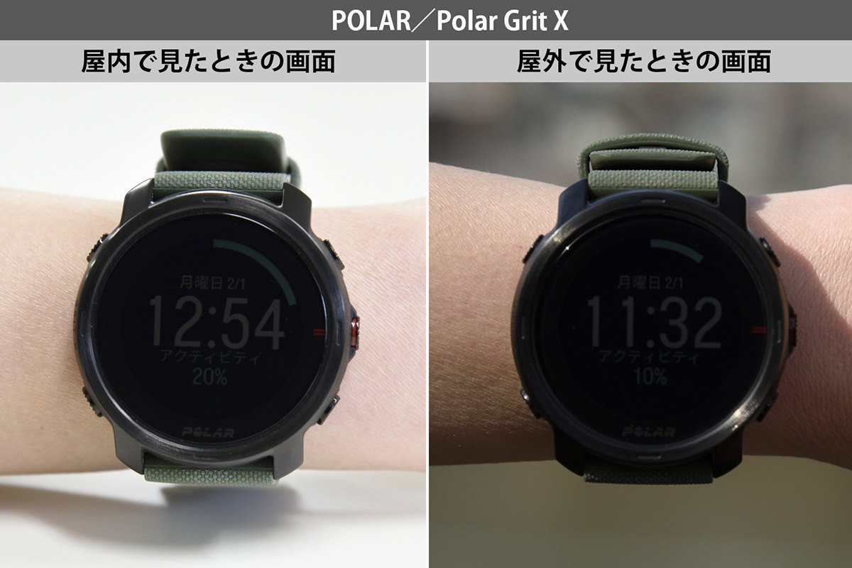 Polar Grit Xを屋外・屋内で見たときの画面画像