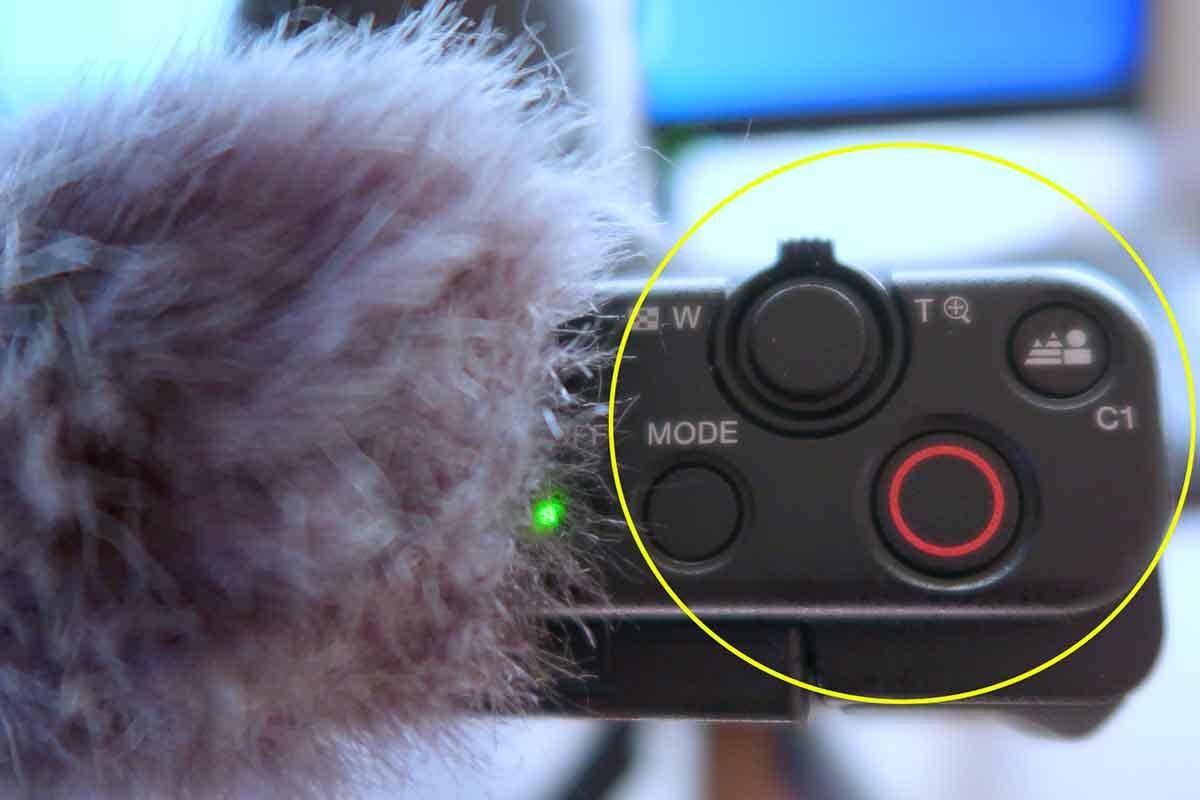 VLOGCAM ZV-1の録画開始ボタン