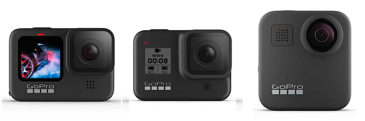 GoPro HERO9、GoPro HERO8、GoPro MAXの製品画像