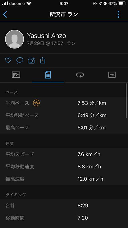 Garmin Connectアプリ画面