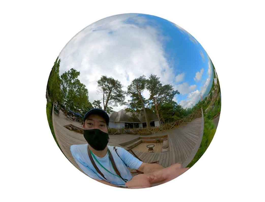 Insta360 ONE X2の写真モード(360度)で撮影した様子